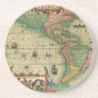 Mapa de Velho Mundo antigo dos Americas, 1606 Porta Copos De Arenito
