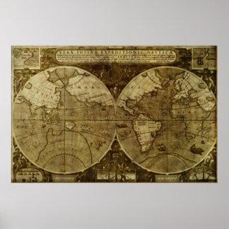 Mapa de Velho Mundo do vintage Pôster