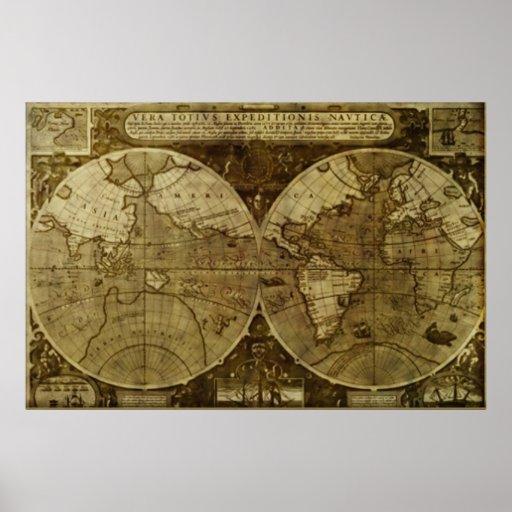 Mapa de Velho Mundo do vintage Impressão