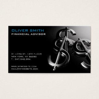 Mapa de visita sobre fundo preto financia e dólar cartão de visitas