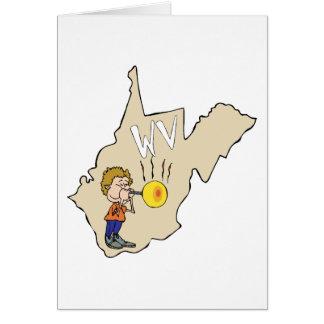 Mapa de West Virginia WV com desenhos animados do Cartao
