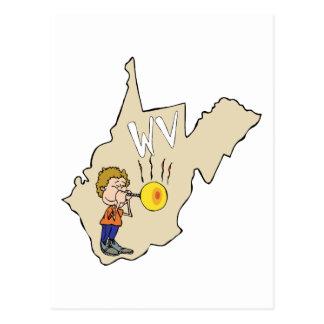 Mapa de West Virginia WV com desenhos animados do Cartão Postal