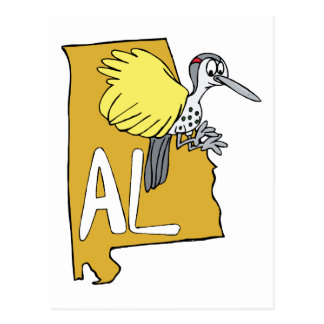 Mapa do AL de Alabama & desenhos animados do Cartão Postal