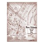 Mapa do centro 1920 de Nova Orleães do vintage Cartão Postal