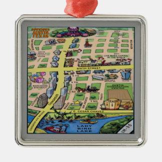 Mapa do centro dos desenhos animados de Austin Ornamento Quadrado Cor Prata