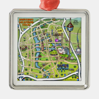 Mapa do centro dos desenhos animados de San Ornamento Quadrado Cor Prata
