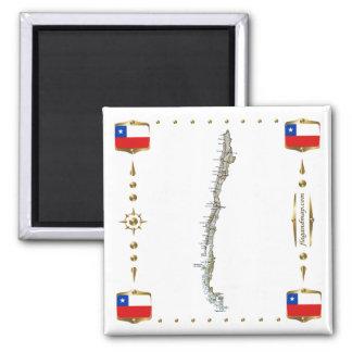 Mapa do Chile + Ímã das bandeiras Ímã Quadrado