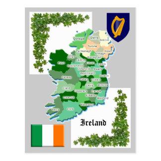 Mapa do condado de Ireland Cartão Postal