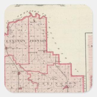 Mapa do Condado de Scott com Lexington, Scottsburg Adesivos Quadrados