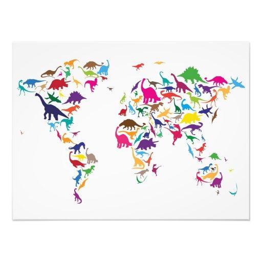 Mapa do dinossauro do mapa do mundo impressão de foto