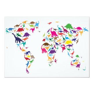 Mapa do dinossauro do mapa do mundo convite personalizados