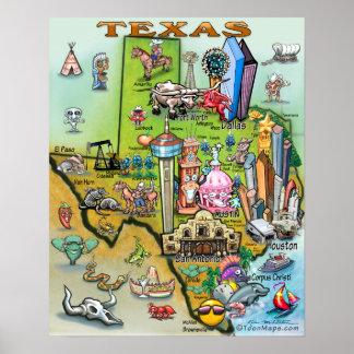 Mapa do divertimento de Texas Pôster