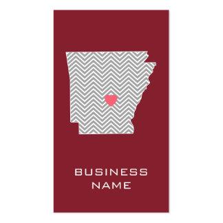 Mapa do estado de Arkansas com coração e nome verm Cartão De Visita