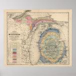 Mapa do estado de Michigan Pôsteres