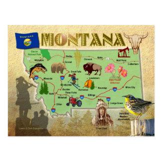 Mapa do estado de Montana Cartão Postal