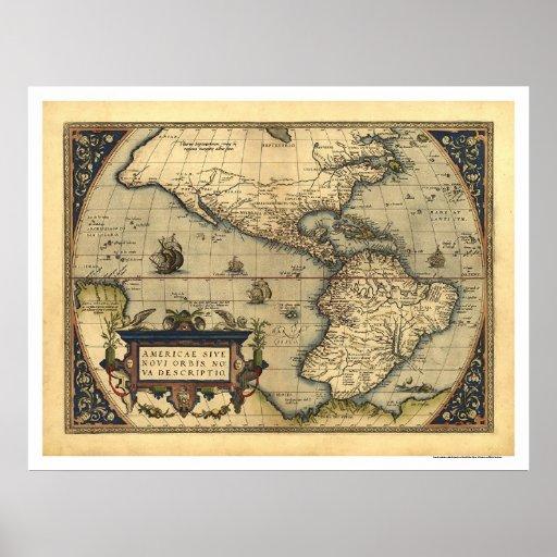 Mapa do hemisfério ocidental por Ortelius 1570 Posters