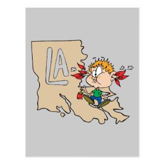 Mapa do LA de Louisiana & divisa da arte dos Cartão Postal