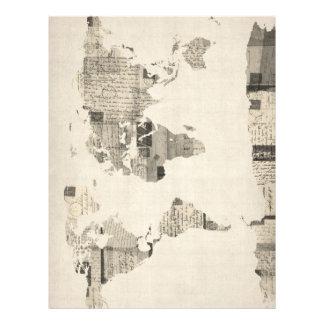 Mapa do mapa do mundo dos cartão velhos flyer 21.59 x 27.94cm