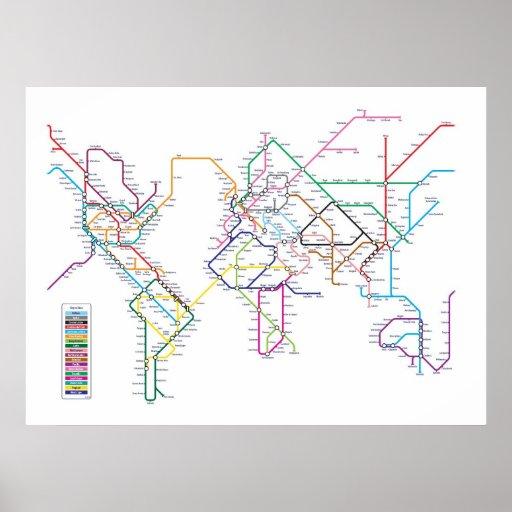 Mapa do metro do metro do mundo posters