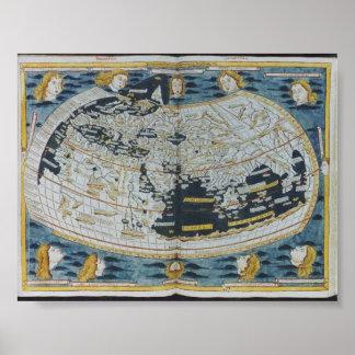 Mapa do mundo 1482 antigo pôster