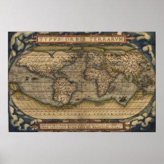 Mapa do mundo 1570 de Ortelius Poster