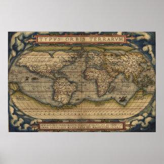 Mapa do mundo 1570 de Ortelius Pôsteres
