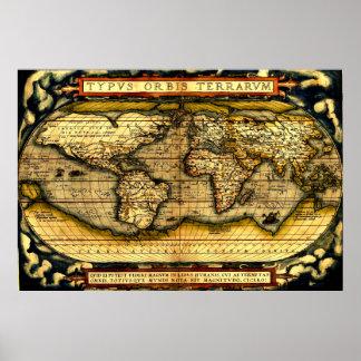 Mapa do mundo 1570 de Ortellius Pôsteres