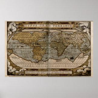Mapa do mundo 1570 poster