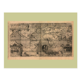 Mapa do mundo 1581 antigo por Nicola camionete Cartão Postal