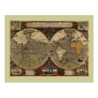 Mapa do mundo 1595 do vintage por Jodocus Hondius Cartão Postal