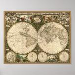 Mapa do mundo 1660 da antiguidade por Frederick de Poster