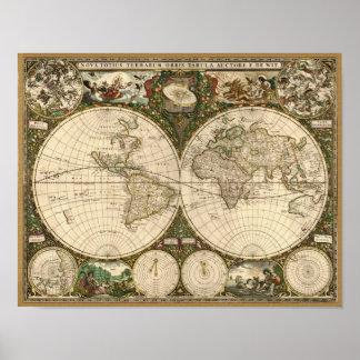 Mapa do mundo 1660 da antiguidade por Frederick de Pôster