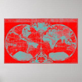 Mapa do mundo (1691) vermelho & claro - azul poster