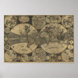 Mapa do mundo 1702 da antiguidade do vintage por pôster