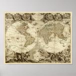 Mapa do mundo 1708 por Jean Baptiste Nolin Impressão