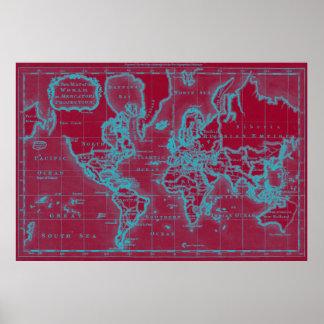 Mapa do mundo (1766) vermelho & claro - azul poster
