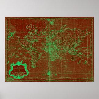 Mapa do mundo (1778) vermelho & claro - verde poster
