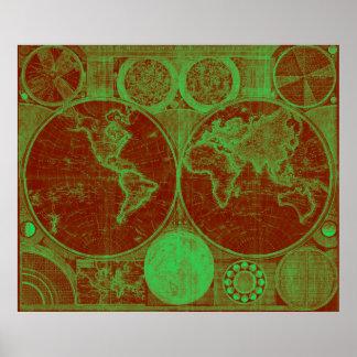 Mapa do mundo (1794) vermelho & claro - verde poster