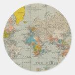 Mapa do mundo 1910 do vintage adesivos redondos