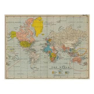 Mapa do mundo 1910 do vintage cartão postal