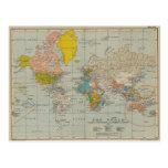 Mapa do mundo 1910 do vintage cartões postais