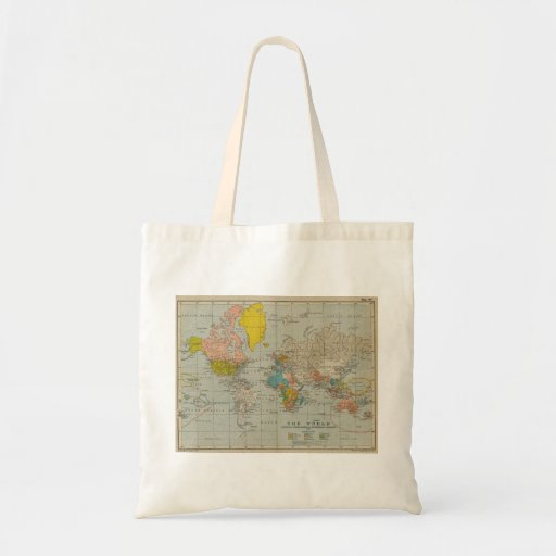 Mapa do mundo 1910 do vintage sacola tote budget