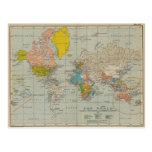 Mapa do mundo 1910 V2 do vintage Cartao Postal