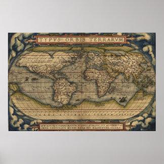 Mapa do mundo 3 - Ortelius, 1570 Poster