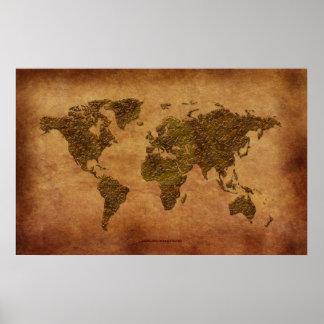 Mapa do mundo 3D rústico no Pergaminho-efeito Posters