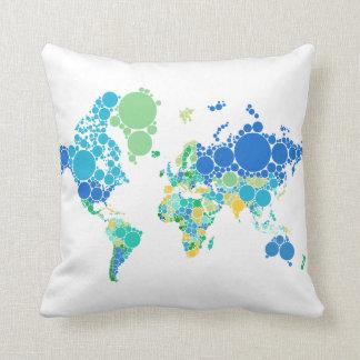 mapa do mundo abstrato com pontos coloridos almofada