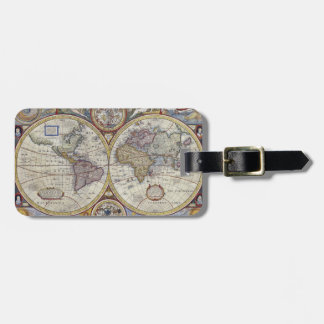 Mapa do mundo antigo #3 etiqueta de bagagem