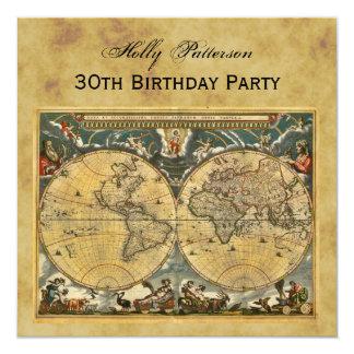 Mapa do mundo antigo, afligido aniversário convite quadrado 13.35 x 13.35cm