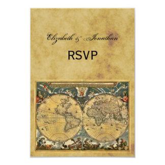 Mapa do mundo antigo, BG afligida RSVP Convite 8.89 X 12.7cm