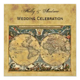 Mapa do mundo antigo, casamento QUADRADO afligido Convite Quadrado 13.35 X 13.35cm
